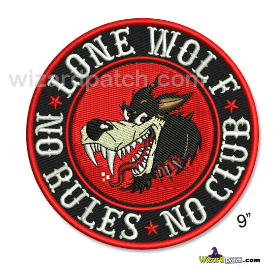 LONE WOLF NO RULES NO CLUB 9 INCH EMBROIDERED BIKER PATCH