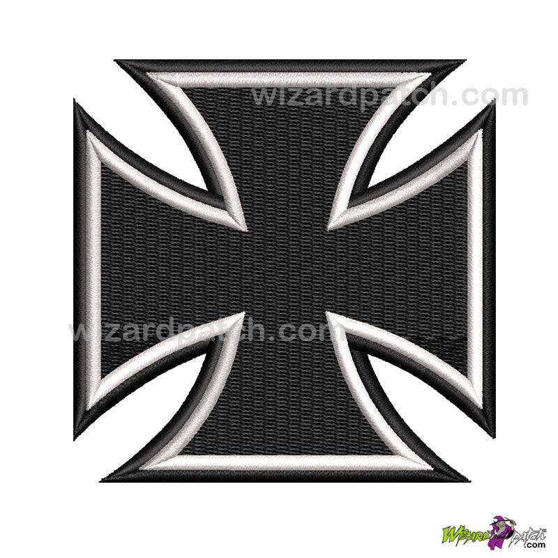 MALTESE CROSS IRON GERMAN BADGE BIKER SEW ON PATCH EMBROIDERED DESIGN WHITE AND BLACK 3 INCHES