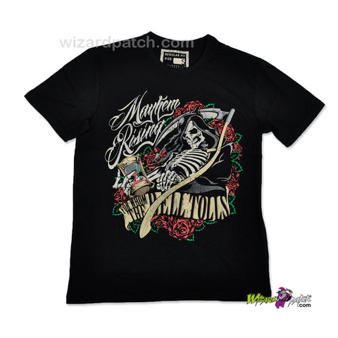 MAYHEM RISING FOR WHOM THE BELL TOLLS REAPER HIGH QUALITY COTTON PRINTED T-SHIRT REGULAR FIT