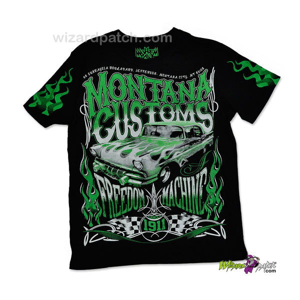MONTANA CUSTOMS FREEDOM MACHINE HIGH QUALITY COTTON PRINTED T-SHIRT REGULAR FIT