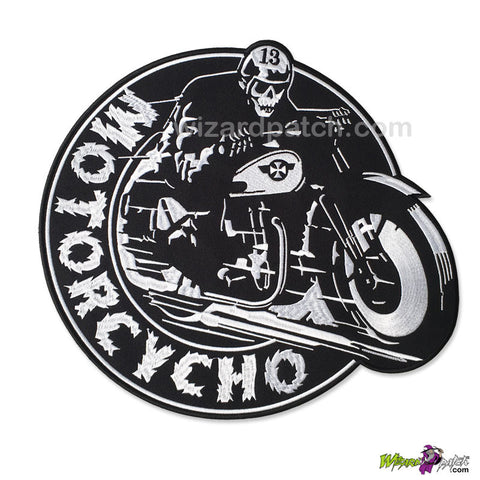 MOTORCYCHO LARGE 11.5 INCH WIDE EMBROIDERED BIKER IRON ON BACK PATCH BADGE