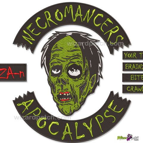 NECROMANCERS APOCALYPSE ZOMBIE COMPLETE 8PC EMBROIDERED HALLOWEEN PATCHES BADGES