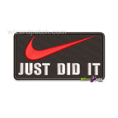 NIKE JUST DID IT EMBROIDERED FUNNY BADGE IRON OR SEW ON APPLIQUE