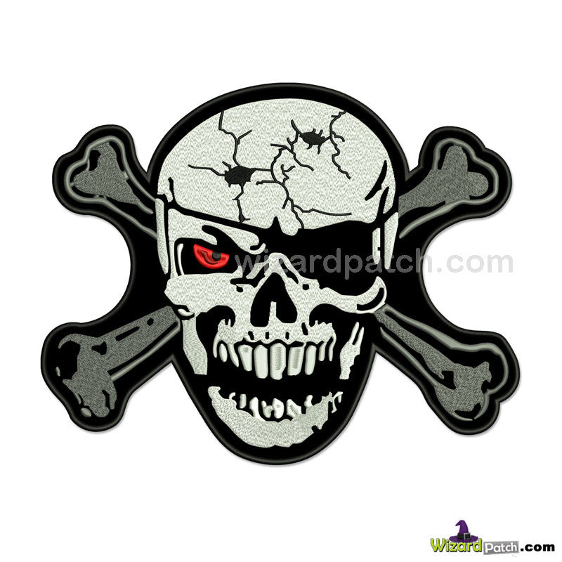 RED EYE PIRATE SKULL AND CROSSBONES AWESOME HUGE 12 INCH WIDE EMBROIDERED BIKER BACK PATCH
