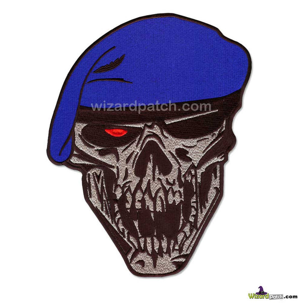 100% FULLY EMBROIDERED SOLDIER ELITE SILENT DEATH WITH BLUE BERET FULLY EMBROIDERED PATCH FROM WIZARD PATCH