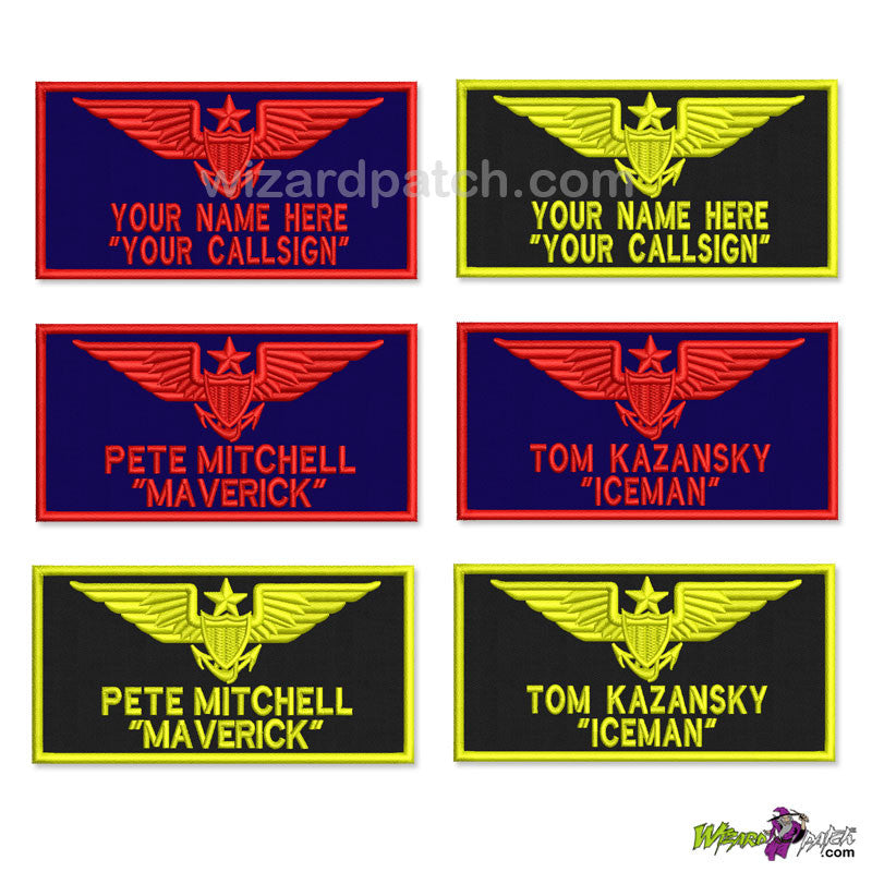 TOP GUN FLIGHT SUIT NAME TAG BADGE EMBROIDERED PATCH TOM GOOSE ICEMAN CUSTOM MAKE YOUR NAME