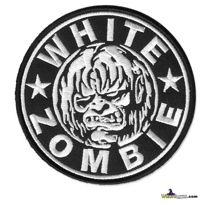 "WHITE ZOMBIE 4"" BAND EMBROIDEREDLOGO DISC PATCH"