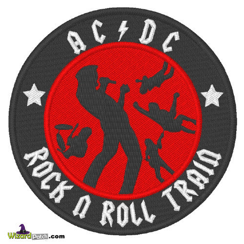 AC DC Black on Red Embroidered Iron Sew On Patch BADGE