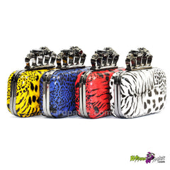 ladies animal print small hard cover purse with additional chain carry at wizard patch