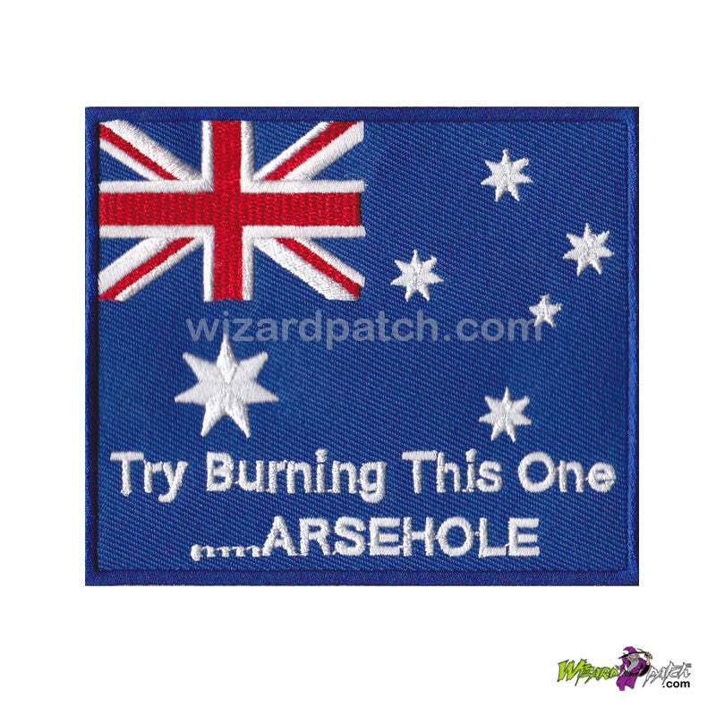 aussie try burning this one embroidered australian flag wizard patch embroidery