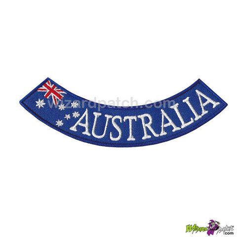 australian flag embroidered rocker support your country wizard patch aussie biker 5 inch