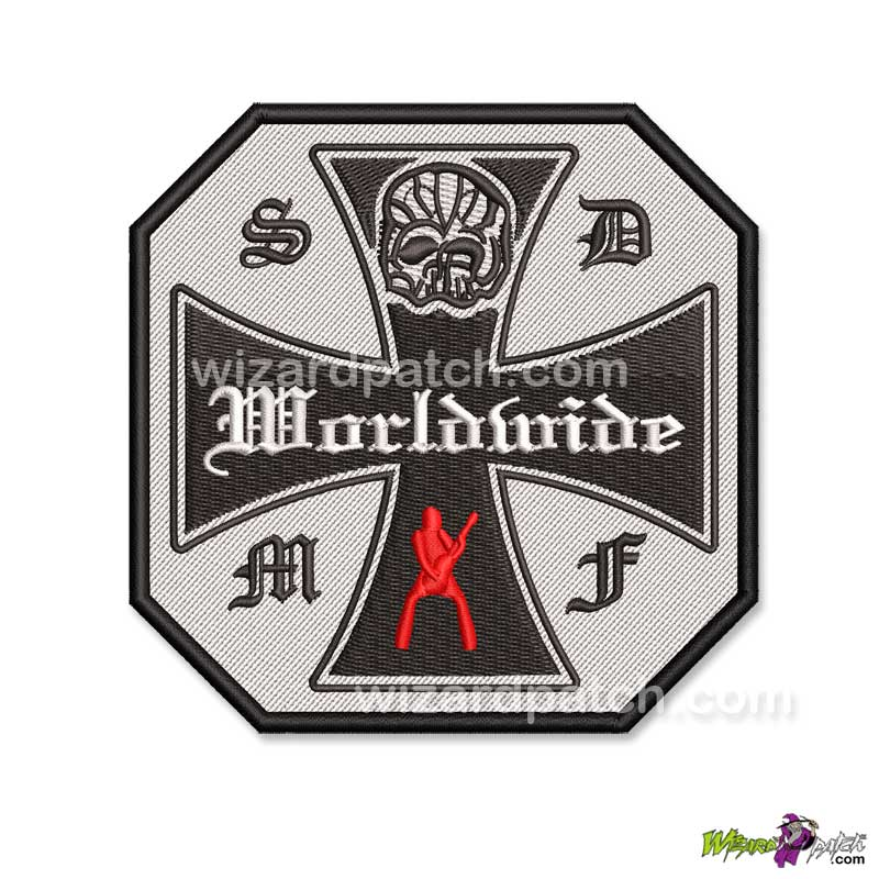 bls black label society red gumby patch embroidered zakk wylde tribute octagonal sdmf rock metal music
