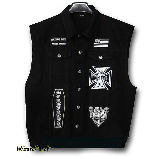 Black Label Society Vest With Patches Wizard Patch