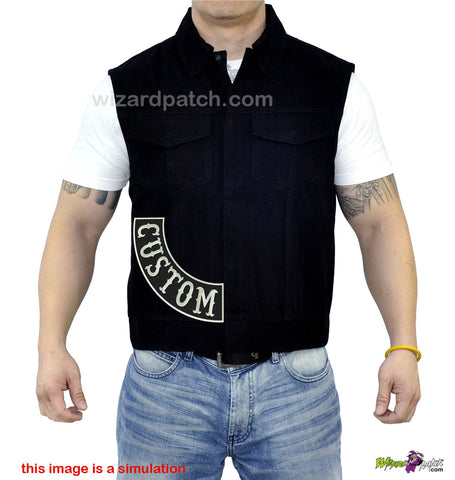 custom embroidered side rockers for you biker vest or jacket fit perfectly with large letters easily seen and wrinkle free perfect patches