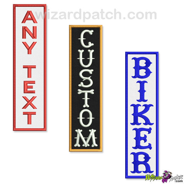custom vertical bar rocker embroidered biker patch your choice wizard patch