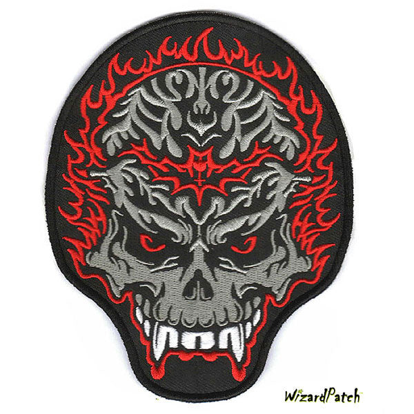 FLAMING DEMON SKULL 4 INCH