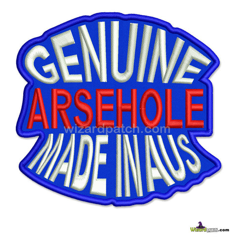 GENUINE ARSEHOLE Biker Tag Funny biker tag patch 4 inch wide