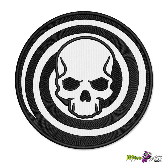 lamb of god spiral embroidered patch skull swirl radial disc badge design