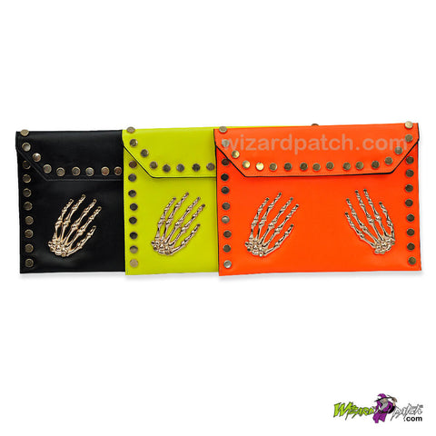 LADIES / GIRLS FIRM COVER CLUTCH PURSE WITH SKELETON HANDS DESIGN