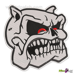 mean dog bulldog patch biker embroidered angry snarling growling