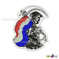 REBEL REAPER EMBROIDERED BADGE PATCH FLAG HOLDING COUNTRY OF YOUR CHOICE CONFEDERATE