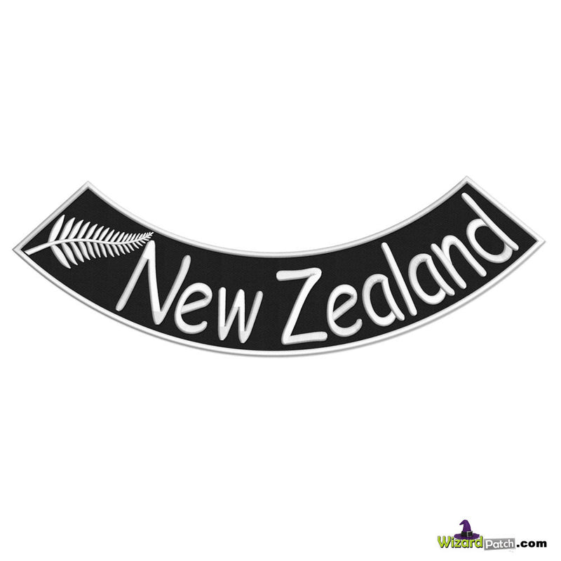 NEW ZEALAND LOWER EMBROIDERED BIKER ROCKER FEATURING THE FERN SYMBOL IN BLACK AND WHITE