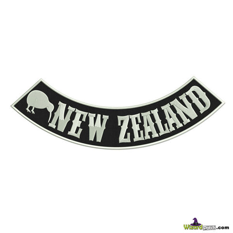 NEW ZEALAND LOWER EMBROIDERED BIKER ROCKER FEATURING THE KIWI IN BLACK AND WHITE