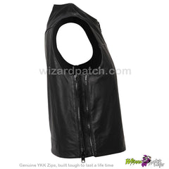 NEW OUTLAW APPAREL LEATHER MAGNUM ELITE BIKER VEST AT WIZARD PATCH