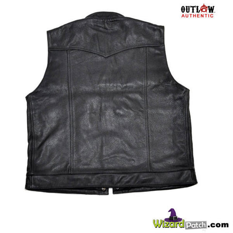 NEW OUTLAW APPAREL LEATHER ROGUE VEST AT WIZARD PATCH