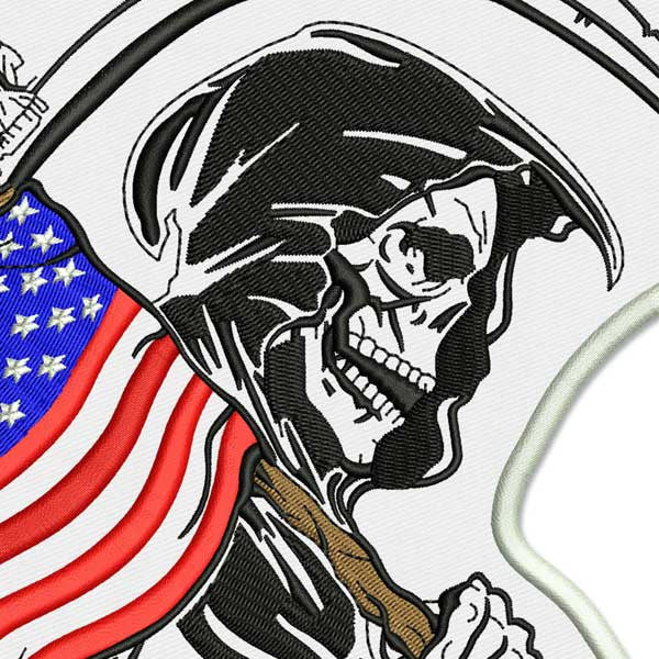PATRIOTIC REAPER LARGE EMBROIDERED BACK PATCH
