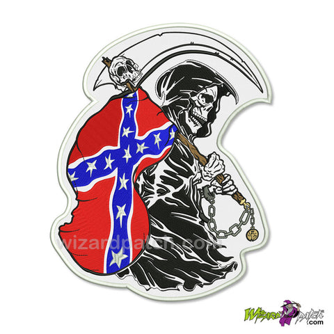 rebel confederate reaper large embroidered backpatch wizard patch