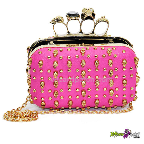 skull encursted ladies small hard cover purse with additional chain carry at wizard patch