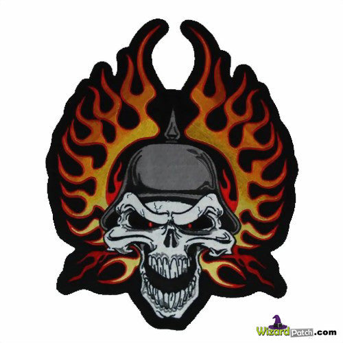 "SKULL & WINGED FLAMES BIKER 4"" PATCH"