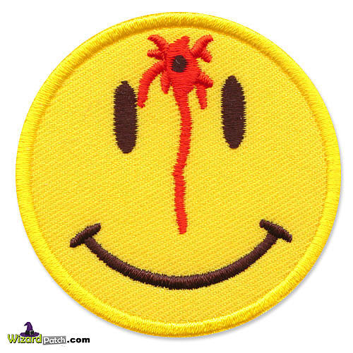 SMILEY SHOT IN THE HEAD EMBROIDERED PATCH BY WIZARD PATCH