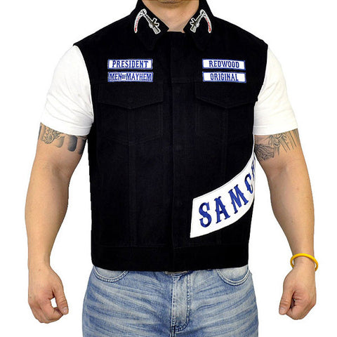 New SONS President vest, all accurate patches of anarchy! Patch in Orginal Blue rockers.