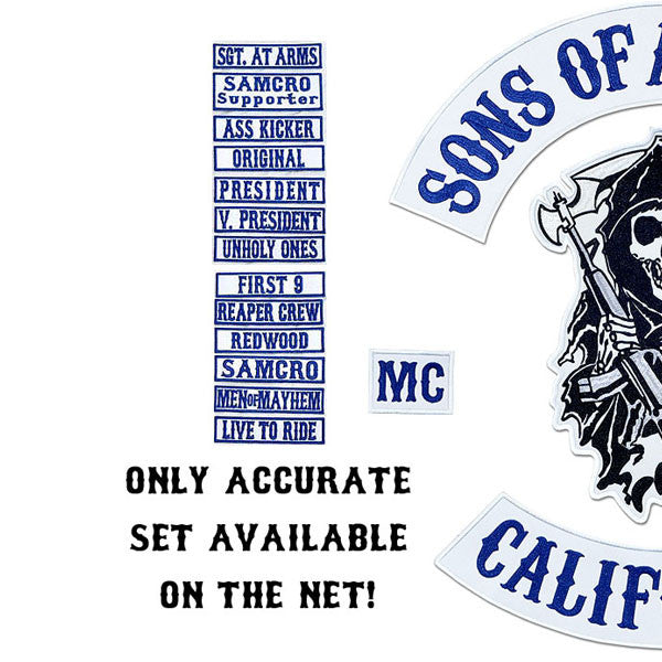 SOA BEST FULL VEST PATCH SET AVAILABLE, BEST EMBROIDERY GUARANTEED, SONS OF ANARCHY patches