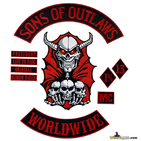 SONS OF OUTLAWS 10PC SET NEW!!RED DEMON ANARCHY COLLECTION EMBROIDERED PATCH SET 1%ER BIKER SET BEST EMBROIDERY PATCH SPECIALISTS
