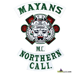SONS OF ANARCHY MAYANS 4PC EMBROIDERED PATCH SET IN ORIGINAL GREEN