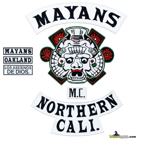 SONS OF ANARCHY MAYANS FULL EMBROIDERED PATCH SET IN BLACK