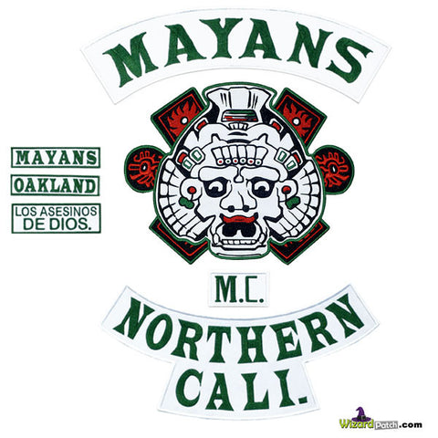 SONS OF ANARCHY MAYANS FULL EMBROIDERED PATCH SET IN ORIGINAL GREEN