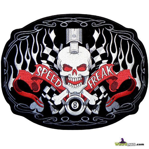 SPEED FREAK PISTON BONES AND FLAMES SEW ON BIKER PATCH