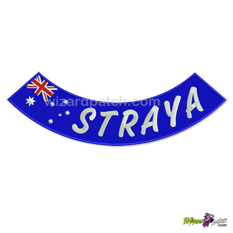straya australian flag embroidered rocker badge wizard patch aussie biker logo vest design
