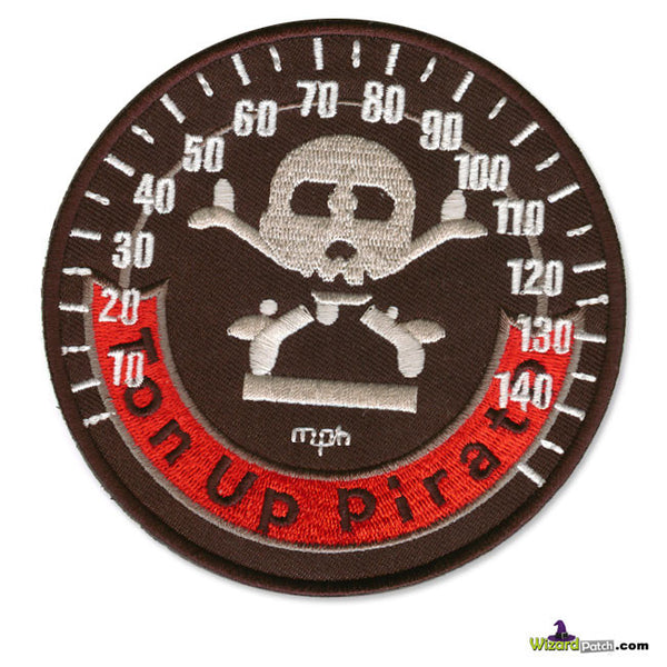 TON UP PIRATE SPEEDO DISC EMBROIDERED PATCH 4""