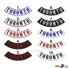 toronto lower rocker embroidered badge biker patch 13 inch wide available in 10 color types north america country