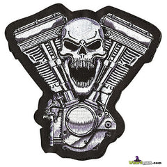 SKULLED V-TWIN AMERICAN SEW ON PATCH