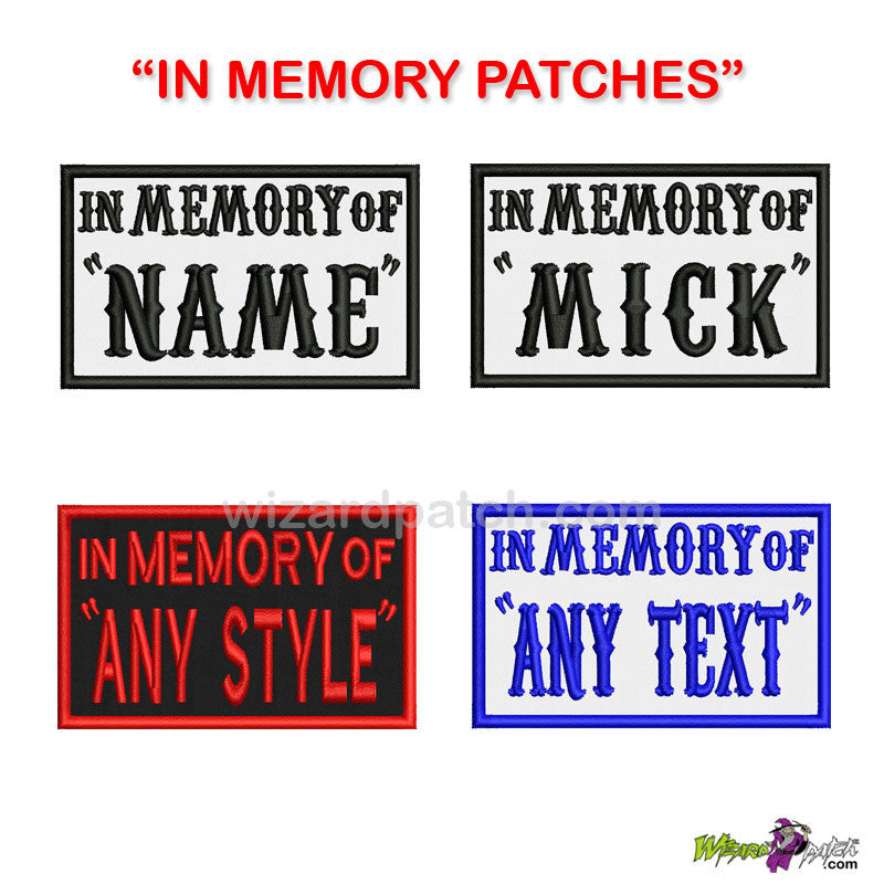 wizard patch IN MEMORY OF YOUR CHOICE embroidered patch