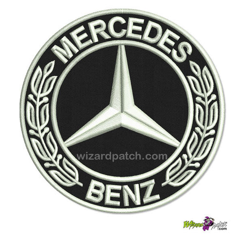 """MERCEDES BENZ EMBROIDERED PATCH DISC LOGO 3.5"""" BADGE"""