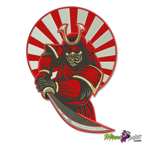 wizard patch SAMURAI EMBROIDERED biker back patch red