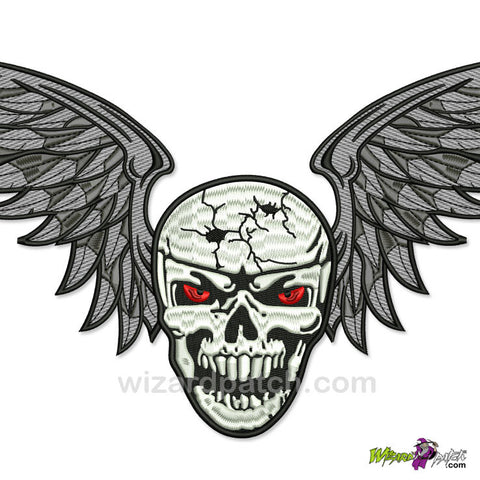 wizard patch WINGED SKULLS CUSTOM EMBROIDERED biker back patch 2