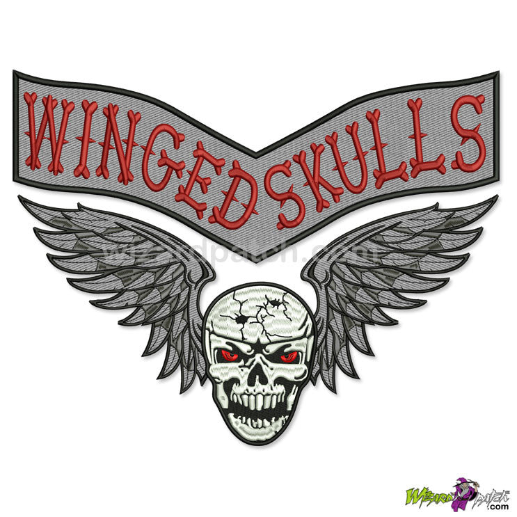 TWO SKULL RED BLUE EMBROIDERED PATCH  BIKER PATCH